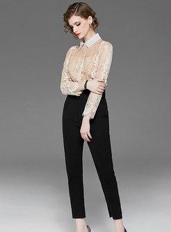 Lapel Lace Slim Cropped Pant Suits
