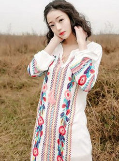 Bohemia Embroidery V-neck Split Maxi Dress