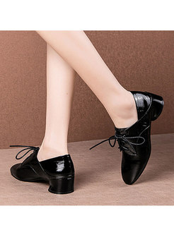 Square Toe Tied Chunky Heel Shoes