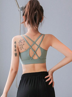 Solid Color Back Cross Sport Bra