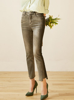High Waisted Asymmetric Selvage Straight Pants