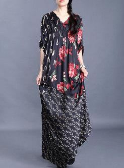 Plus Size Print Loose Asymmetric Maxi Dress