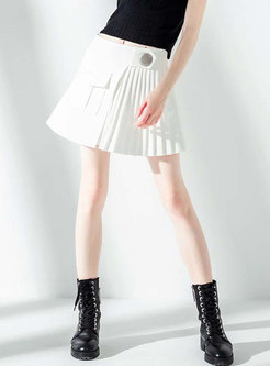 White High Waisted Pleated Mini Skirt