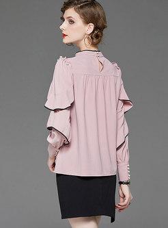 Stand Collar Ruffel Bodycon Suit Dress