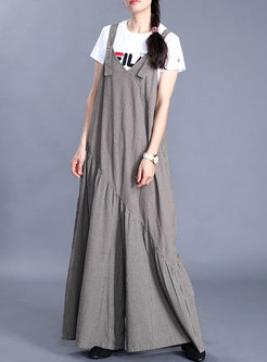 V-neck Loose Striped Wide Leg Overalls