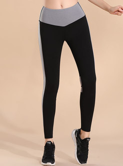 Color-blocked Slim Quick-drying Yoga Pants