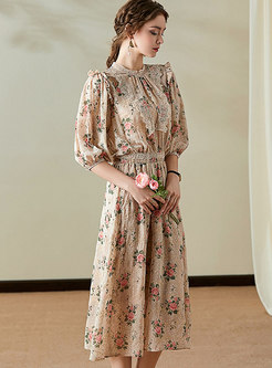 Floral Patchwork Elastic Waist Midi Dress