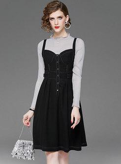 Ruffel Collar Suspender Skirt Suits