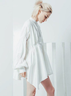 Lantern Sleeve Asymmetric Shirt Loose Dress