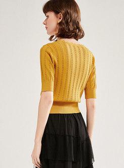 V-neck Half Sleeve Pullover Slim Knit T-shirt
