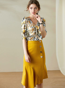 Print Falbala Sheath Skirt Suits