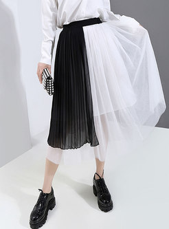 High Waisted Patch Mesh Pleated Skirt