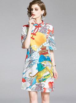 Mandarin Collar Print Loose Cheongsam Dress
