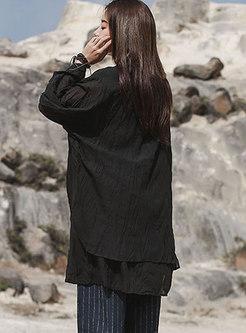 Mock Neck Plus Size Pullover Blouse