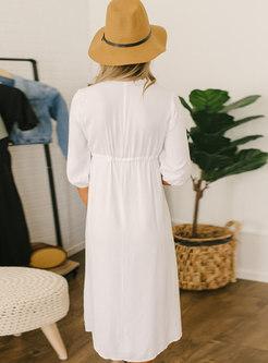 Half Sleeve Embroidered Beach Shift Dress