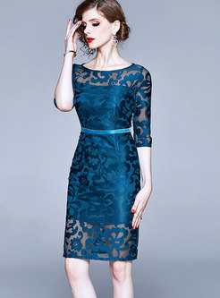 Embroidered Lace Openwork Sheath Dress