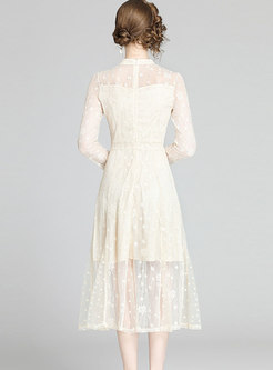 Lace Stand Collar Openwork Midi Dress
