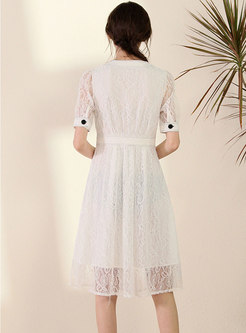Single-breasted Lace Patchwork Skater Dress