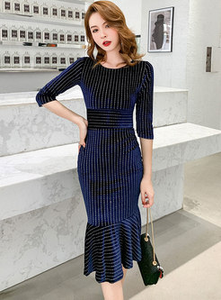 Studded Velvet Peplum Bodycon Dress