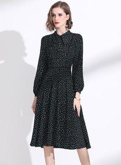 Stand Collar Polka Dot Skater Dress