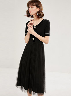 Mesh Patchwork Pleated Sweater Dress