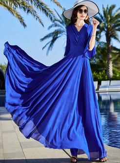 Cross V-neck Empire Waist Beach Maxi Dress