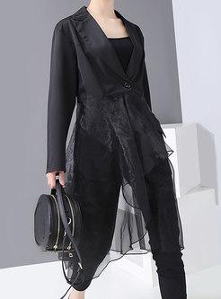 Asymmetric Mesh Patchwork Buttoned Blazer
