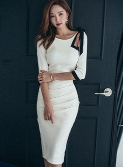 Openwork Color Block Bowknot Bodycon Dress