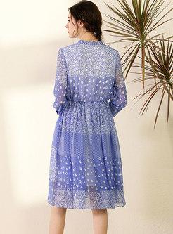 Chiffon Floral Tie-collar Skater Dress