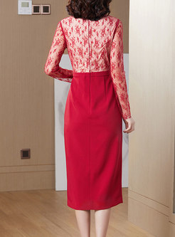 Lace Patchwork V-neck Bodycon Dress