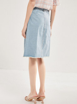 Denim Slit Rough Selvedge A-line Skirt