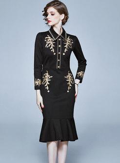 Embroidered Lapel Sheath Peplum Dress