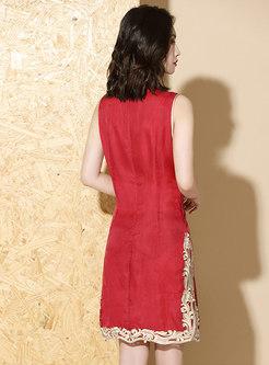Sleeveless Embroidered Slit Bodycon Dress