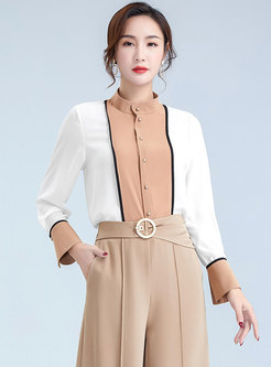 Color Block Stand Collar Chiffon Blouse
