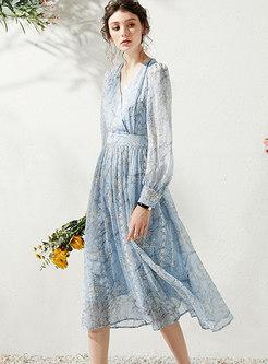 Floral V-neck Gathered Waist Midi Dress