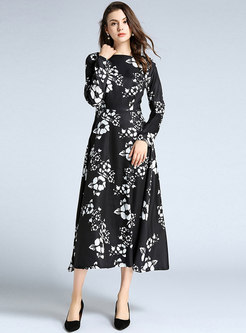 Crew Neck Print Slim Maxi Dress
