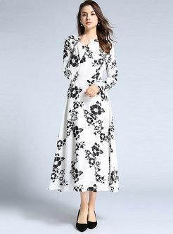Crew Neck Print Slim Maxi Dress