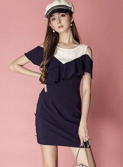Open Shoulder Patchwork Mini Bodycon Dress