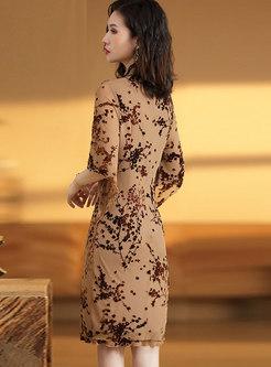 Jacquard Mock Neck Bodycon Dress