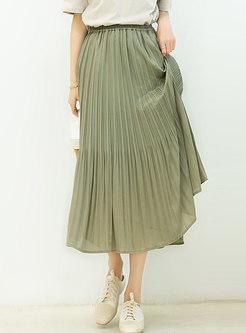 Chiffon Elastic Waist Pleated Skirt