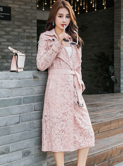 Lace Openwork Belted Trench Coat