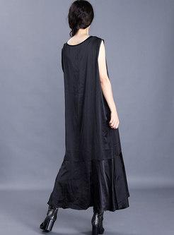 Crew Neck Sleeveless Patchwork Maxi Dress