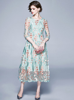 Mesh Embroidered Crew Neck Maxi Dress