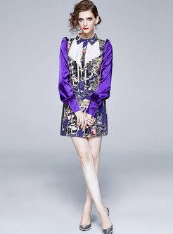Patchwork Print Mini Bodycon Dress