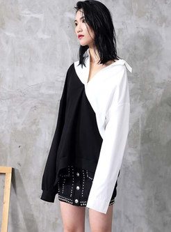 Color Block Patchwork Lapel Sweatshirt