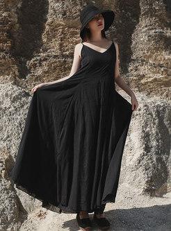 Solid Color V-neck Slip Maxi Dress