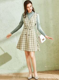 Cowl Neck Plaid Belted Suit Dress