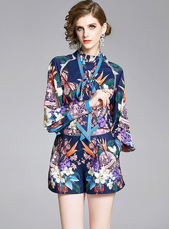 Stand Collar Print Bowknot Pant Suits