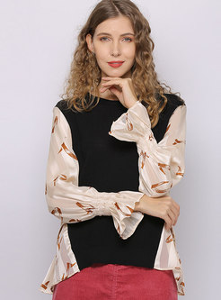 Print Flare Sleeve Patchwork Knit Top