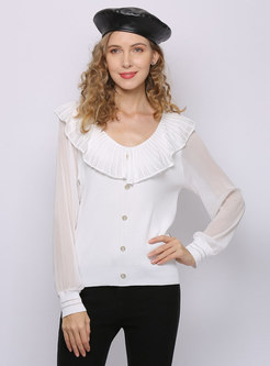 Sweet Patchwork Buttoned Pullover Sweater